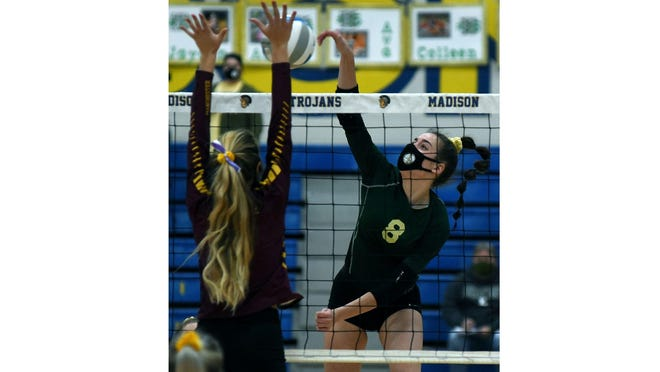Mikayla Haut of St. Mary Catholic Central spikes in the Regional finals.