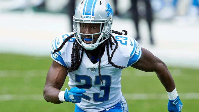 Detroit Lions cornerback Desmond Trufant (23) pursues a play during a game against the Carolina Panthers  on Nov. 22, 2020 in Charlotte, N.C. The Chicago Bears signed veteran cornerback Desmond Trufant to a one-year contract Saturday, March 20, 2021, to replace former All-Pro Kyle Fuller.