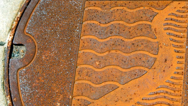 A manhole cover on Central Avenue downtown.