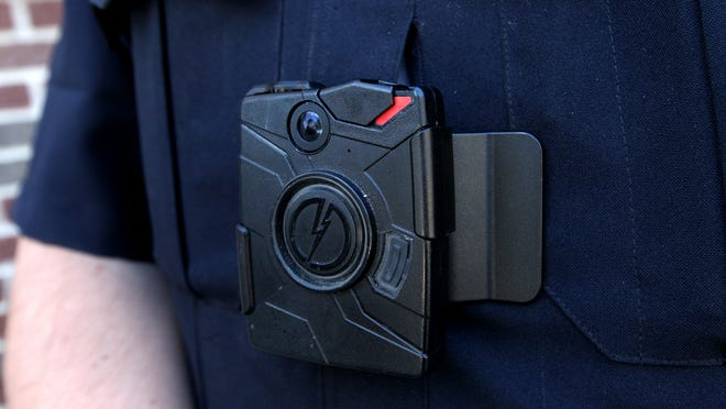 One of the body cameras in use by officers of the Lowell Police Department, one of only a few Michigan police units that use the devices regularly.