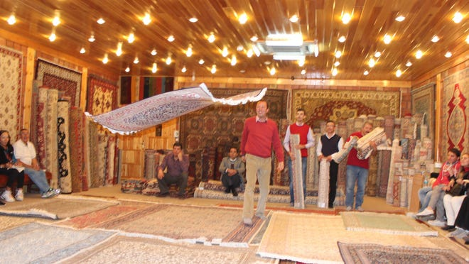 A flying carpet in a rug shop in Cappadocia, Turkey — or almost.