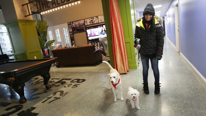 Liz Taylor, 29, and her dogs walk through the common lounge area at the Albert apartment building in Detroit. Taylor chose to live at the Albert because of its pet-friendly policy. Rents at the Albert meet or exceed the $2 per square foot mark.