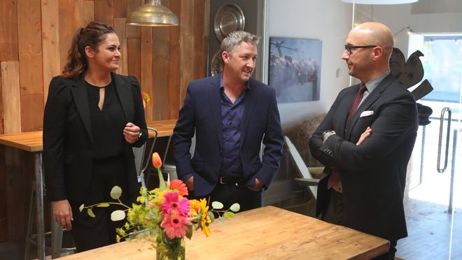 """The professional cast of CNBC's """"Restaurant Startup,"""" in which metro Detroit chef Nikita Sanches will appear this season, are (from left) restaurateurs Antonio Lafaso, Tim Love and Joe Bastianich."""