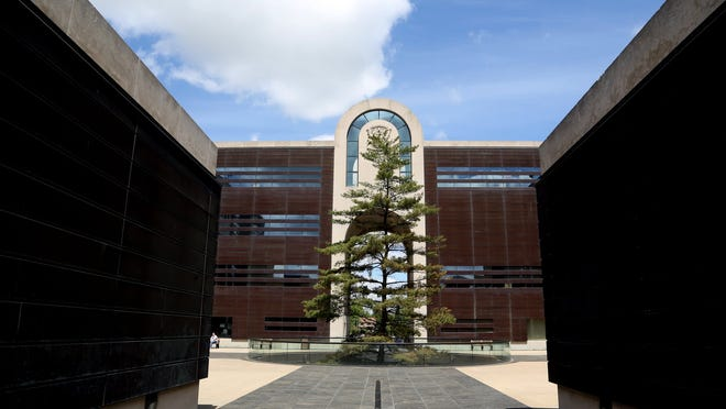 A white pine, Michigan's state tree, stands at the Michigan Library and Historical Center in Lansing. With the help of a $1-million grant from the W.K. Kellogg Foundation, the museum is retooling some exhibits to better reflect the state's rich and diverse history.