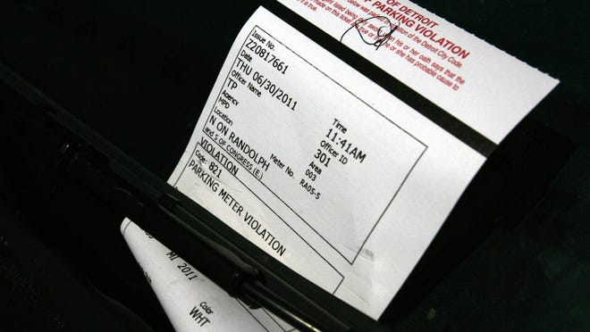 File photo of a City of Detroit parking ticket.