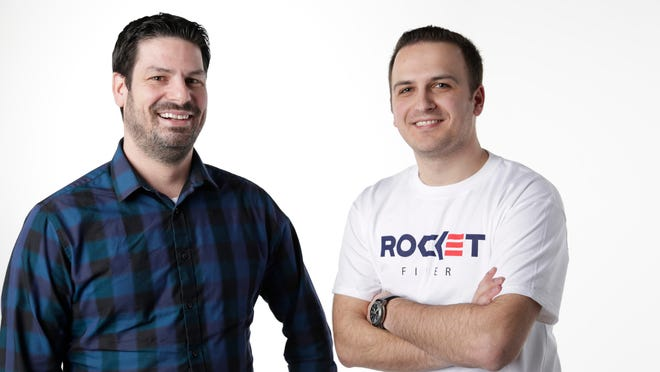 Randy Foster, left, and Edi Demaj are two of the three cofounders of Rocket Fiber, the new Dan Gilbert-backed ultra-high-speed Internet service being brought to downtown Detroit's Central Business District. Not pictured is cofounder Marc Hudson.