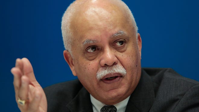 Wayne County Executive Warren Evans speaks about the Wayne County debt crisis with the Detroit Free Press editorial board Feb. 5, 2015.