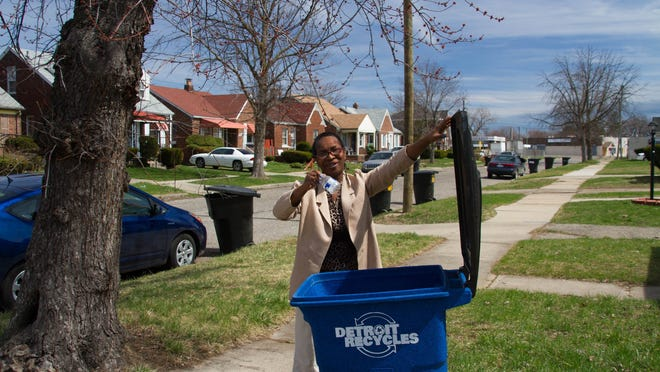 Flanders Street resident Sandra Turner-Handy's home is one of the only ones in her neighborhood with a curbside recycling container. Turner-Handy works with the Michigan Environmental Council, which is teaming with Zero Waste Detroit in seeking donations to cover the $25 recycling bin cost for those who can't afford it.