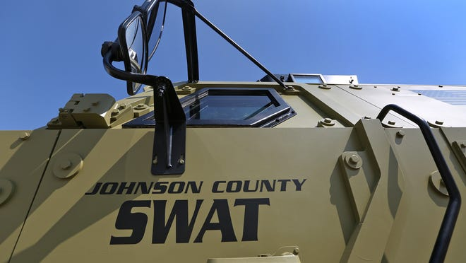 A new vehicle in the Johnson County law enforcement arsenal is this military surplus armored personnel carrier, Thursday, May 29, 2014.  As a military vehicle, it was called a mine-resistant ambush-protected vehicle, a MRAP.