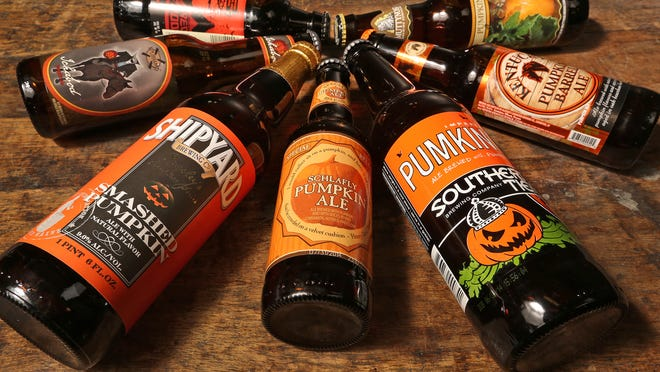 Pumpkin Beers, counter-clockwise from top left: Redhook Brewery's Out of Your Gourd Pumpkin Porter; New Holland Brewing's Ichabod Pumpkin Ale; Shipyard Brewing Company's Smashed Pumpkin; Schlafly Beer's Pumpkin Ale; Southern Tier Brewing Company's Pumking; Alltech Lexington Brewing and Distilling Company's Kentucky Pumpkin Barrel Ale; and Smuttynose Brewing Company's Pumpkin Ale.