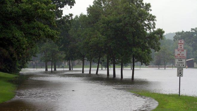 Lower City Park is seen flooded on Saturday, July 5, 2014. David Scrivner / Iowa City Press-Citizen