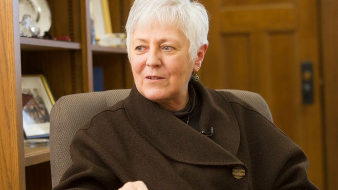 University of Iowa President Sally Mason reflects on her time at the UI after announcing her retirement on Thursday, Jan. 15, 2015. David Scrivner / Iowa City Press-Citizen