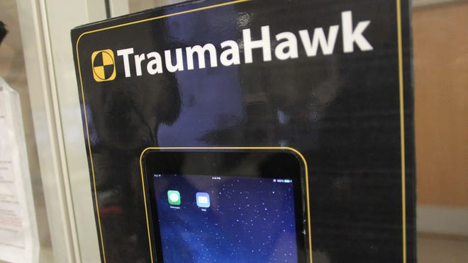 This iPad in the University of Iowa Hospitals and Clinics emergency room, shown Thursday, is dedicated to displaying images from the new TraumaHawk smartphone app.