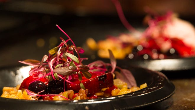 Share Wine Lounge's dried fruit and pistachio faro is served Monday at Top Chef: Downtown. The farro is served with brined, smoked and seared duck.