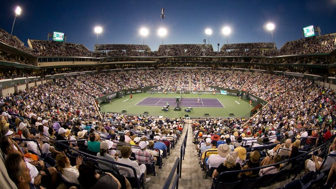 A new study shows the BNP Paribas Open had nearly $374 million economic impact on the desert. In this March 12 photo, a crowd watches the tennis match.