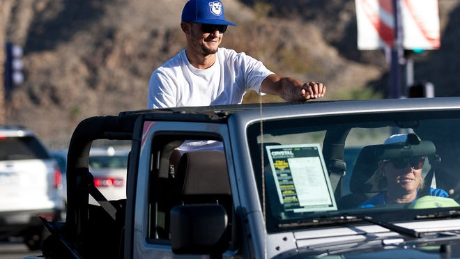 Cub Swanson serve as grand marshal during Cathedral City High School's homecoming parade held at Cathedral City Civic Center, Wednesday.