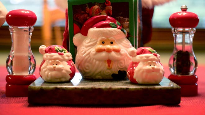 Santa Claus kitchen accessories are part of the Santa Claus collection of Dennis and Barbara Rice in Keizer on Wednesday, Dec. 17, 2014.