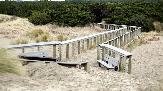 The interpretive boardwalk sits in a grassland area at South Beach State Park near Newport.