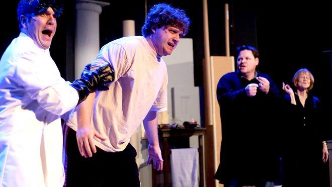 "Jed Kercher as Fredrick (from left), Brett Hochstetler as Monster, Jeff Witt as Igor and Lyndsey Houser as Frau Bleücher star in ""The New Mel Brooks Musical Young Frankenstein"" at Pentacle Theatre."