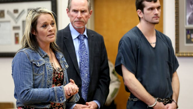 Shawna Slover, the mother of Andre Slover (right), speaks during her son's sentencing at the Marion County Courthouse in downtown Salem on Thursday, April 23, 2015. Slover was sentenced to life in prison, with the eligibility for parole after 25 years, for murder and first-degree robbery.