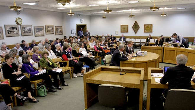 A full house for a meeting of the House Committee on Rules on Senate Bill 941, which would require background checks for private gun sales and transfers, at the Oregon State Capitol in Salem on Wednesday, April 22, 2015. There were also three overflow rooms.