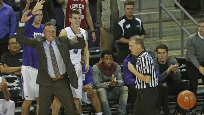 GCU's head coach Dan Majerle yells after a call against Hampton at GCU Arena on Nov. 30, 2015 in Phoenix, Ariz.