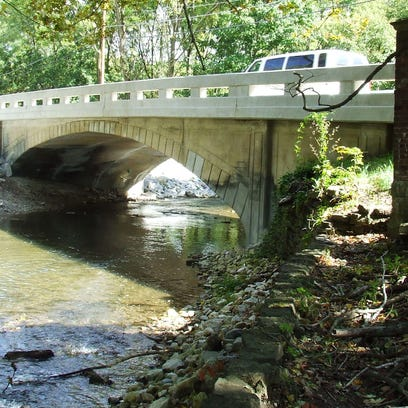 The new Turnpike Road bridge over Teetor Falls in Hagerstown