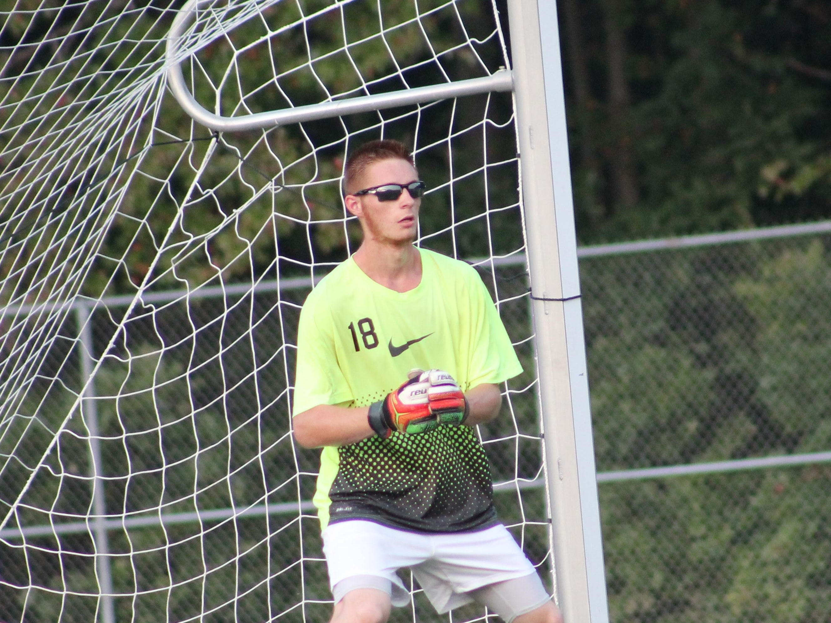 Bethel-Tate senior goalie Ian Kimmerly sports the shades during an early September game for the Tigers.