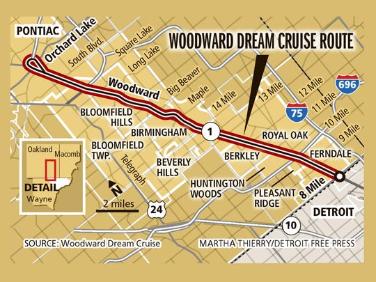 Woodward Dream Cruise route