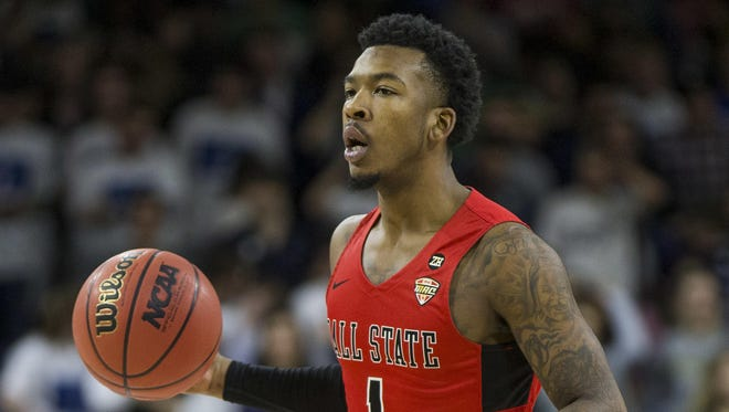 Ball State's Jontrell Walker dribbles during the first half of a game against Notre Dame Tuesday, Dec. 5, 2017, in South Bend, Ind. Ball State beat Notre Dame 80-77.