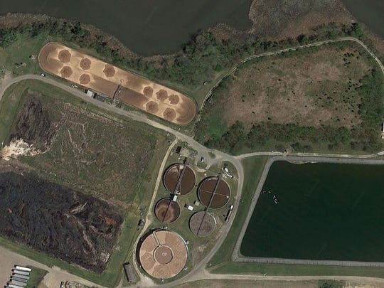 This image shows Swan Creek winding along Mountaire's property. To the left are two existing wastewater lagoons that are full of sludge that must be removed to make the system work properly. Mountaire wants to use an abandoned lagoon - which can be seen along the banks of Swan Creek - to temporarily stored sludge as it is cleaned out.