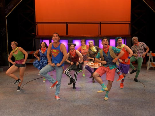 """The cast of Godspell performs """"We Beseech Thee"""" in"""