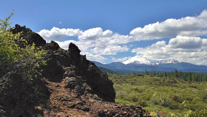 Spatter Cones Trail in Lassen National Forest near Old Station offers insights on volcanic forces as well as nice views.