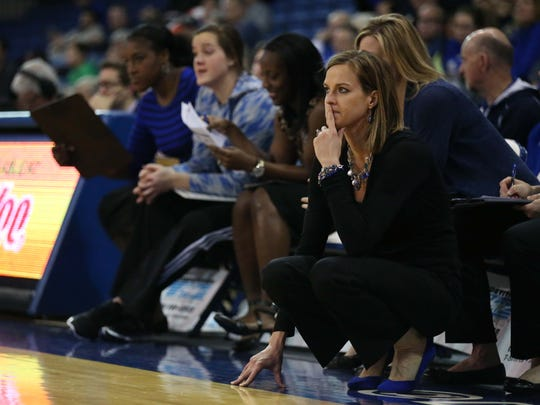 Drake coach Jennie Baranczyk (pictured) has the Bulldogs on a program-best 16-game win streak.