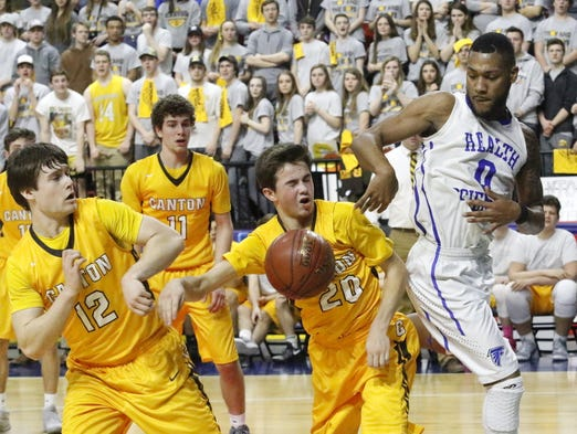 Action from the Class B boys state semifinal between