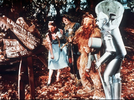 """In an effort to raise awareness about its Yellow Brick Road fundraising effort for a $250,000 restoration project, Villagers Theatre is staging """"The Wizard of Oz"""" through June 25. Pictured is a scene from the iconic 1939 film."""