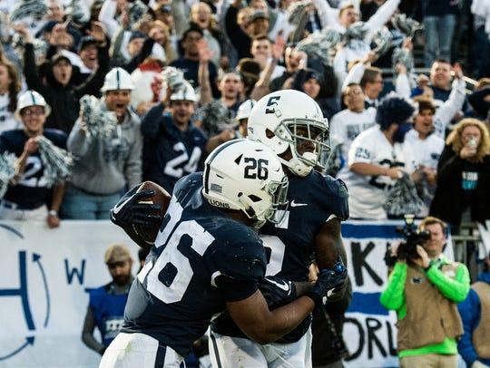 Penn State's DawSean Hamilton celebrates his touchdown
