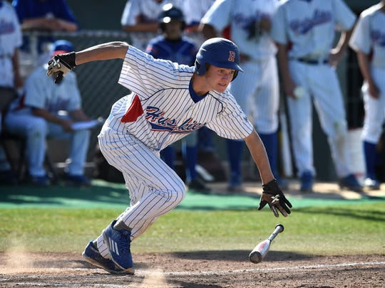 Reno Kaden Hogan bunts and get on base against McQueen in a game in 2016.