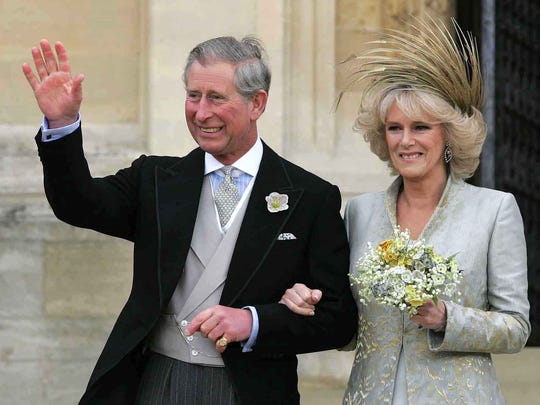 Prince Charles with his wife Camilla, Duchess of Cornwall following a Service of Prayer and Dedication at St. George's Chapel at Windsor Castle, Saturday, April 9, 2005.