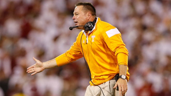 Sep 13, 2014; Norman, OK, USA; Tennessee Volunteers head coach Butch Jones reacts during the game against the Oklahoma Sooners at Gaylord Family - Oklahoma Memorial Stadium. Mandatory Credit: Kevin Jairaj-USA TODAY Sports