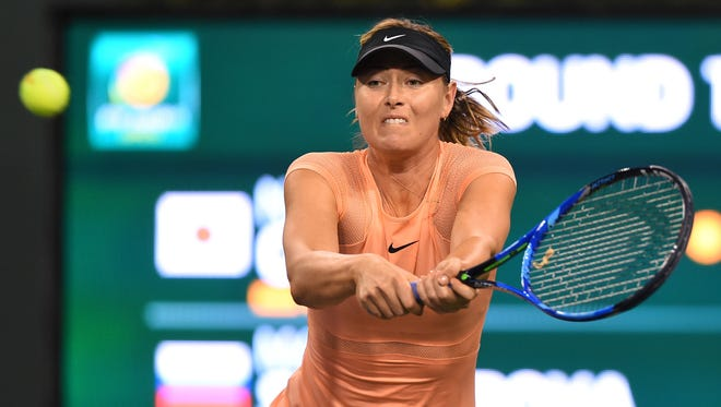 Maria Sharapova  in her first round match against Naomi Osaka  at the BNP Paribas Open at the Indian Wells Tennis Garden. Stosur won the match.