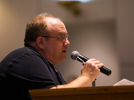 "Joseph Doyle gives his public comment, urging board members not to challenge HB 7069, during the Collier County School Board meeting on Tuesday, Sept. 26, 2017, at the Dr. Martin Luther King Jr. Administration Center. The board voted on whether to join a proposed lawsuit against the state over HB 7069. ""We need to do something different, and this is a step in the right direction,"" Doyle said."