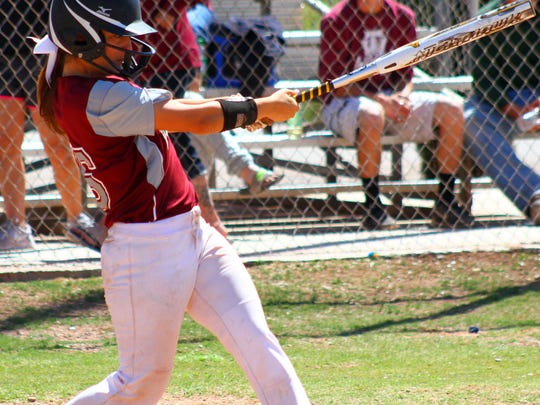Tularosa senior Jade Yousif makes contact with a pitch Saturday afternoon.