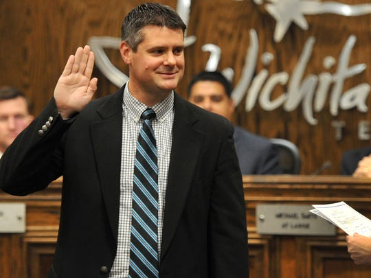 New Wichita Falls Precinct 1 City Councilor Eric West was sworn in Monday morning after council members chose him to fill a vacancy on the panel.