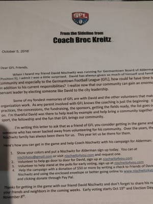 This political endorsement letter from the director of the Germantown Football League caused a stir in the suburb.