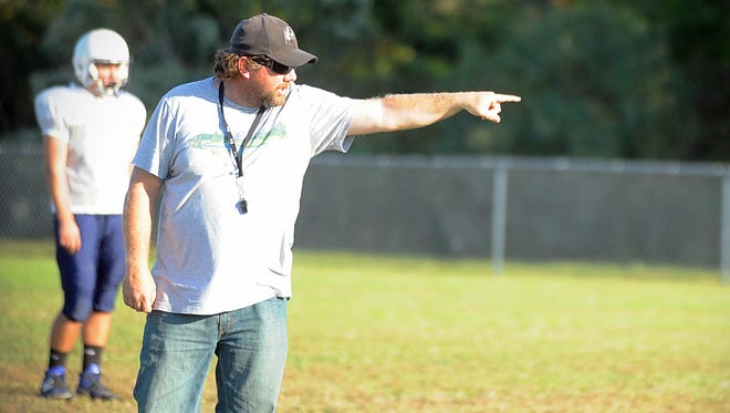 Nick Howard coaches the Chincoteague football team on Monday, Oct. 17, 2016.