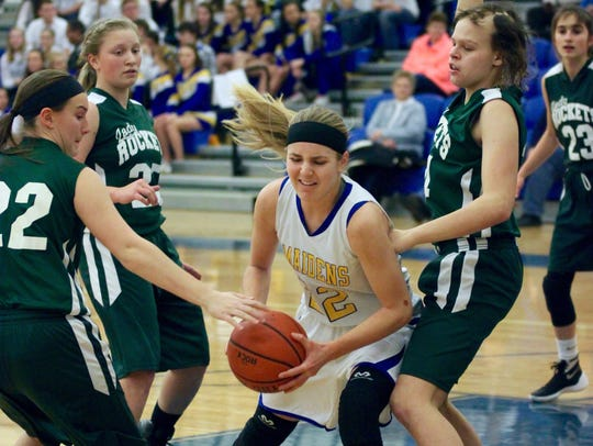 1. Waynesboro's Cat Weber drives to the basket against