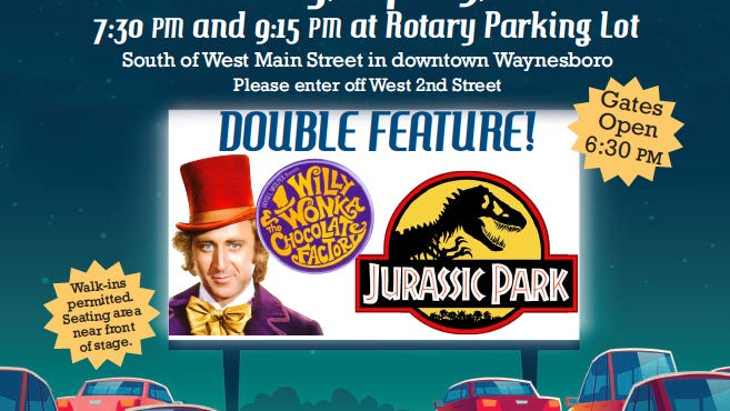 "The Waynesboro Community theatre Project (WCTP), the nonprofit organization that owns the Waynesboro theatre building at 75 W. Main St., is hosting a double-feature showing of ""Willy Wonka and the Chocolate Factory"" at 7:30 p.m. and ""Jurassic Park"" at 9:15 p.m. PROVIDED GRAPHIC"