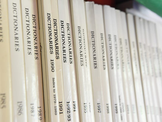 Some of the books owned by David Barnhart, a lexicographer.