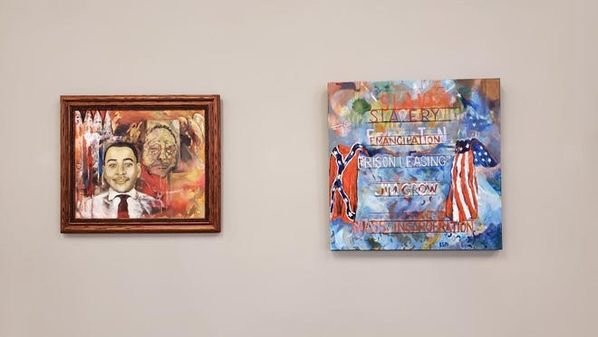 """Paintings in Eric Murphy's """"Jim Crow Must Go"""" exhibit at 400 West Rich"""